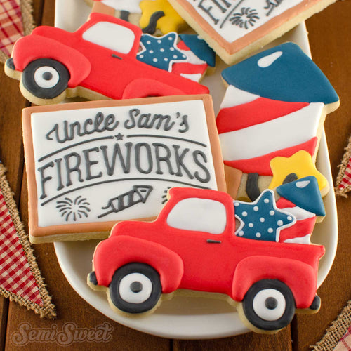 Truck with Fireworks Cookie Cutter