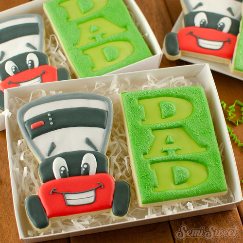 father's day lawnmower cookies