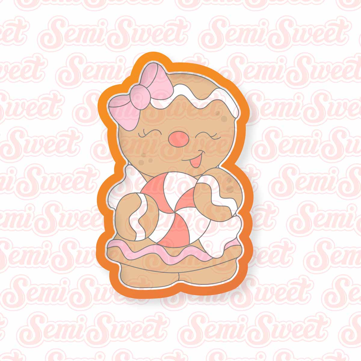 Gingerbread Candy Girl Cookie Cutter | Semi Sweet Designs