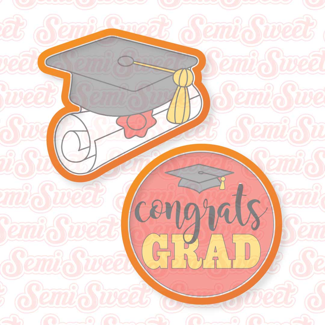 Graduation Platter Cookie Cutter Set | Semi Sweet Designs