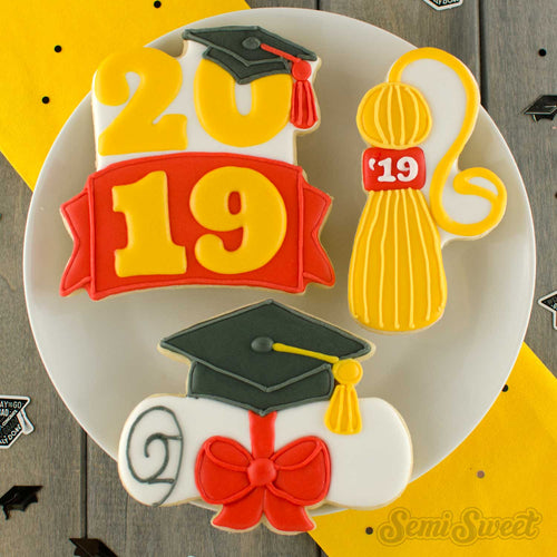 Graduation Cap Diploma with Bow Cookie Cutter