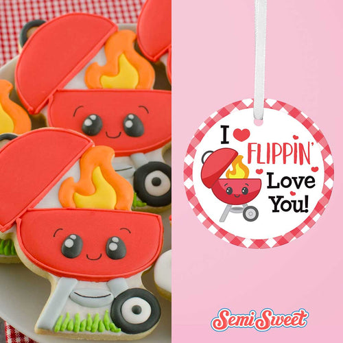 "I Flippin' Love You Grill - Instant Download Printable 2"" Circle Tag"