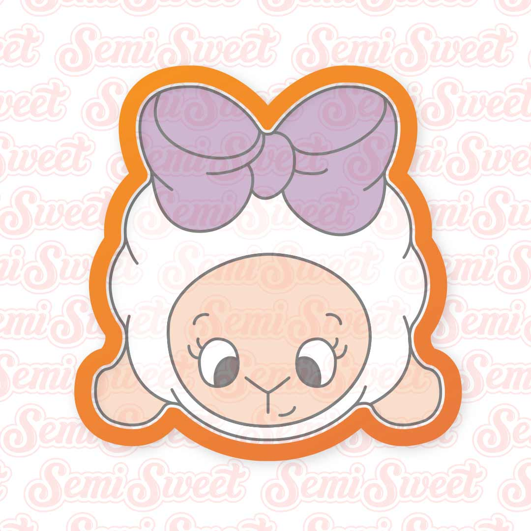 Bow Lamb Girl Cookie Cutter | Semi Sweet Designs