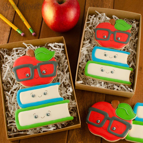 nerdy apple and books cookies | Semi Sweet Designs