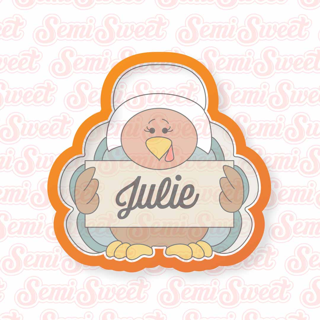 Pilgrim Turkey Girl Cookie Cutter | Semi Sweet Designs