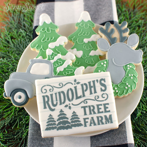 Rudolph's Tree Farm Sign Stencil
