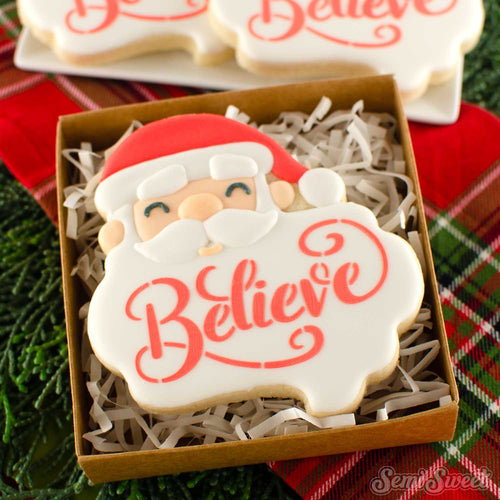 Santa Beard cookie with believe stencil