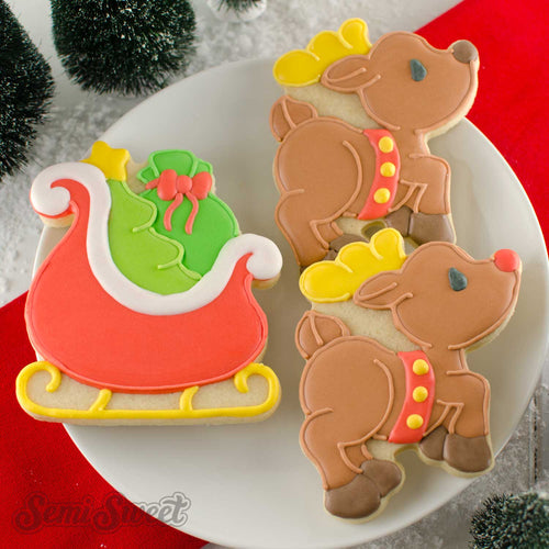 Santa Sleigh Cookie Cutter | Semi Sweet Designs