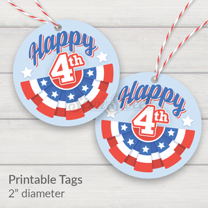 "Happy 4th of July Bunting - Instant Download Printable 2"" Circle Tag"