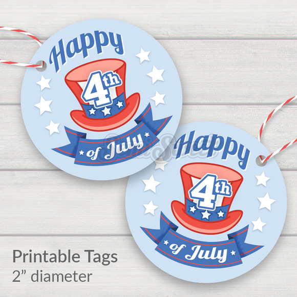 Happy 4th Top Hat - Instant Download Printable 2