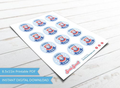 "Happy 4th Top Hat - Instant Download Printable 2"" Circle Tag"