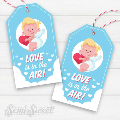 Cupid Love is in the Air - Instant Download Printable Tag