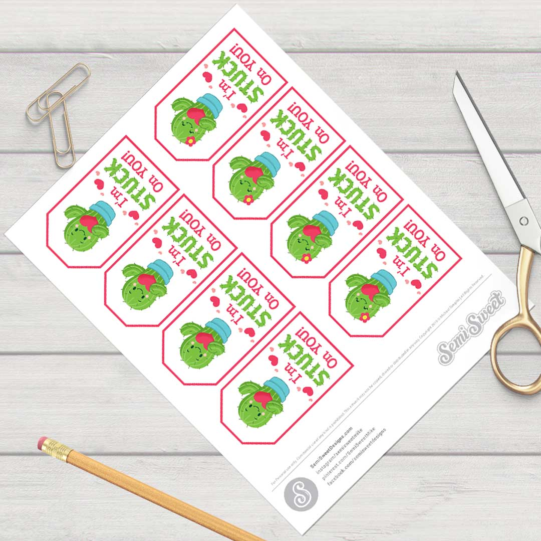 I'm Stuck on You - Instant Download Printable Tag