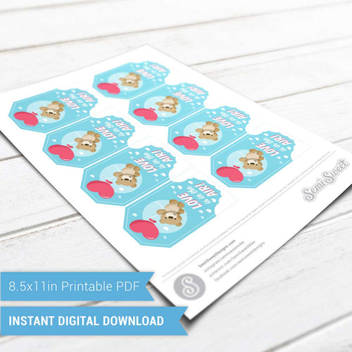 Teddy Bear Love is in the Air - Instant Download Printable Tag