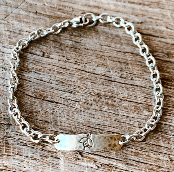 Hand Stamped Sterling Silver Bee ID Bracelet