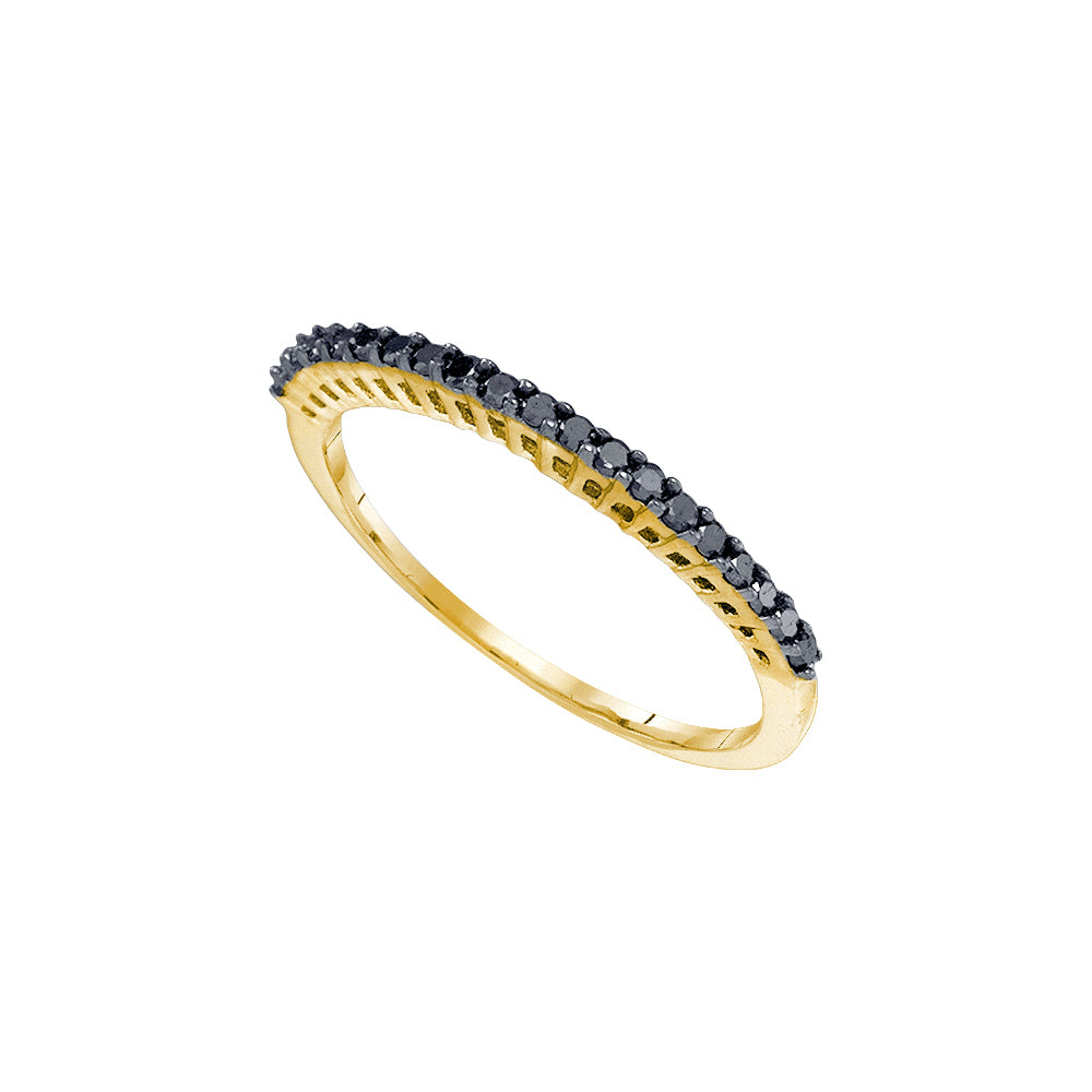 10kt Yellow Gold Womens Round Black Color Enhanced Diamond Band Ring 1/4 Cttw Size 9