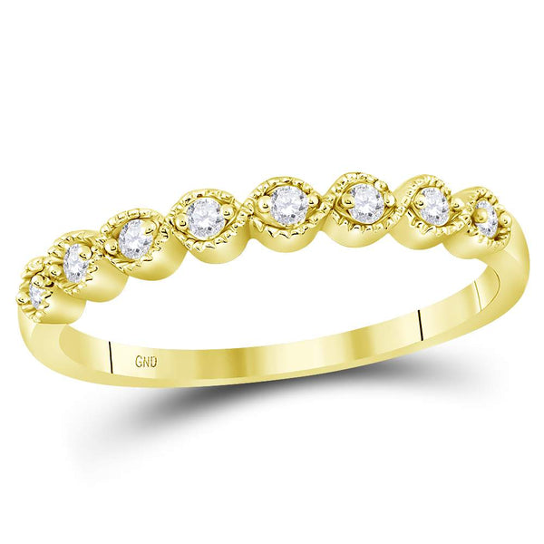 10kt Yellow Gold Womens Round Diamond Stackable Band Ring 1/10 Cttw
