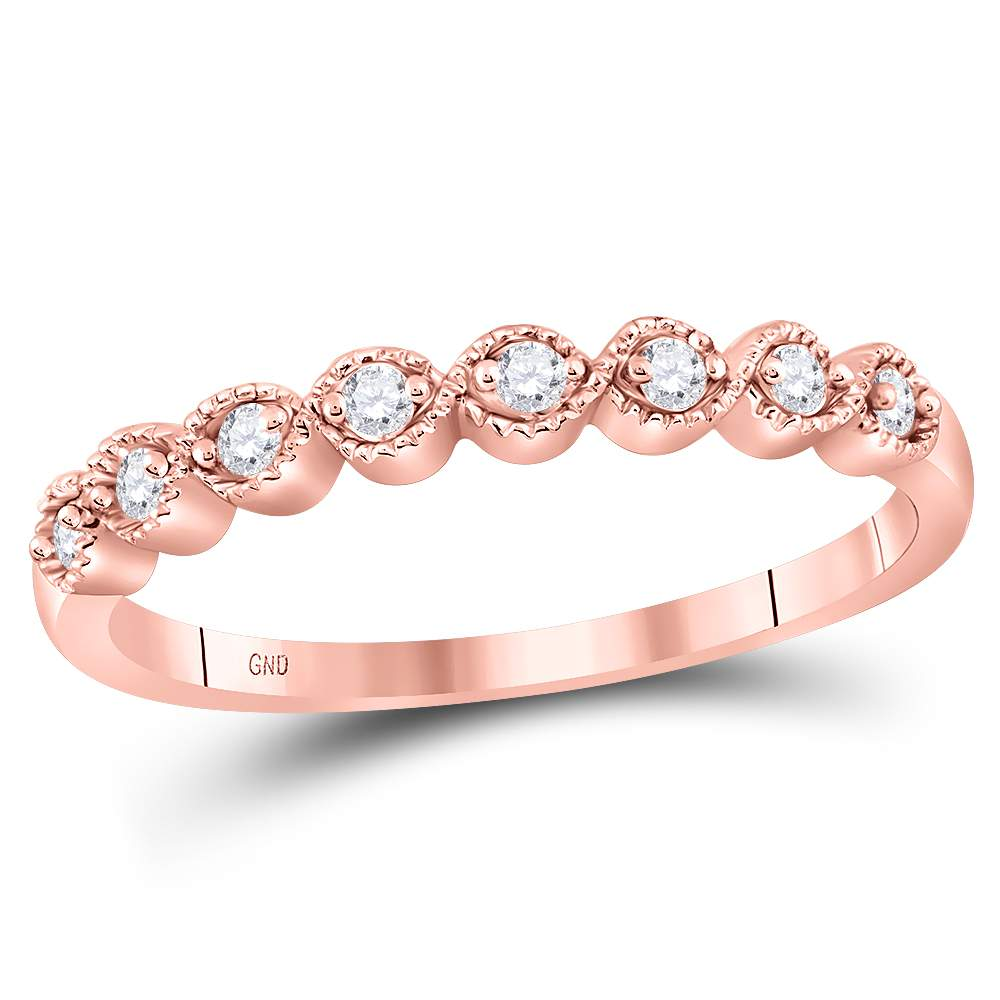 10kt Rose Gold Womens Round Diamond Stackable Band Ring 1/10 Cttw