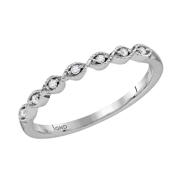 14kt White Gold Womens Round Diamond Stackable Band Ring 1/20 Cttw