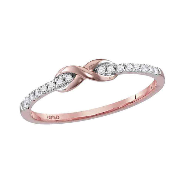 10kt Rose Gold Womens Round Diamond Infinity Knot Stackable Band Ring 1/10 Cttw