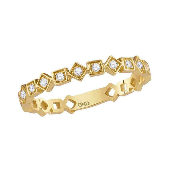 10kt Yellow Gold Womens Round Diamond Squares Stackable Band Ring 1/10 Cttw