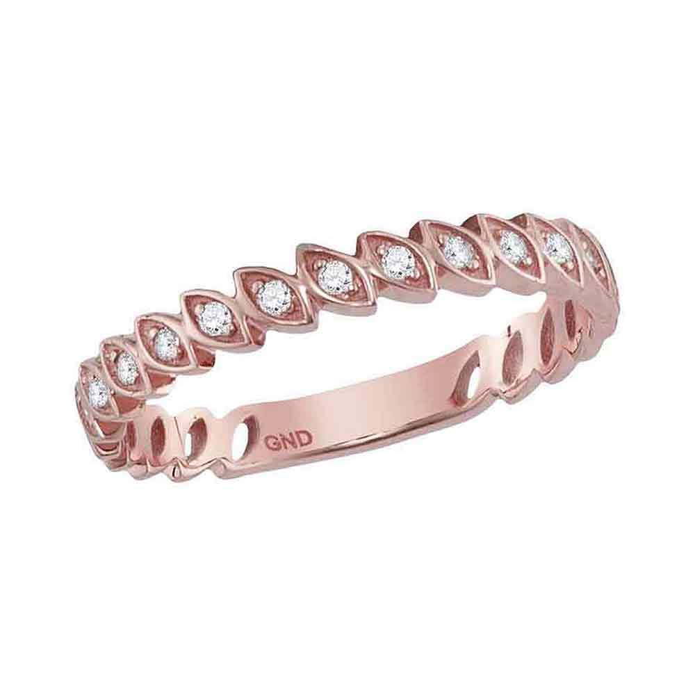 10kt Rose Gold Womens Round Diamond Ovals Stackable Band Ring 1/10 Cttw