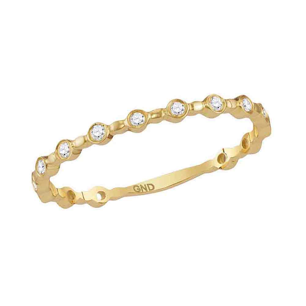 14kt Yellow Gold Womens Round Diamond Slender Stackable Band Ring 1/10 Cttw