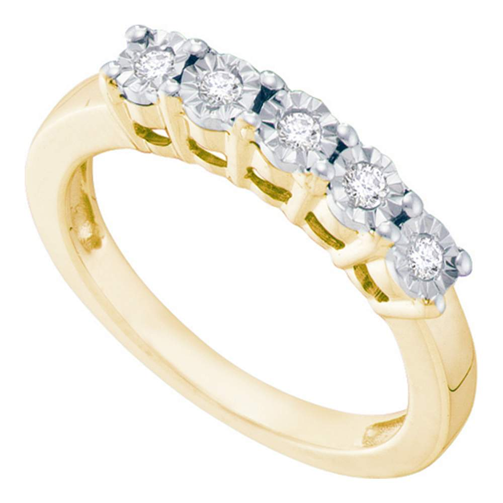 Yellow-tone Sterling Silver Womens Round Illusion-set Diamond 5-Stone Band 1/6 Cttw