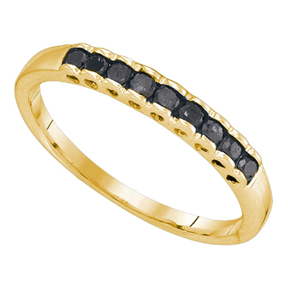 10kt Yellow Gold Womens Princess Black Color Enhanced Diamond Band Ring 1/4 Cttw
