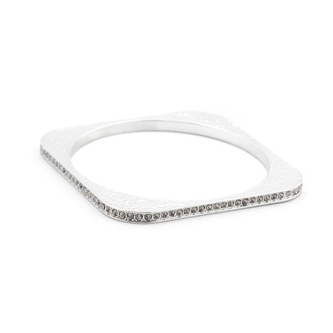 Hammered Cubic Zirconia Square Bangle - Opulent Lifestyle