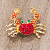 Gold Tone and Red Crab Brooch - Opulent Lifestyle