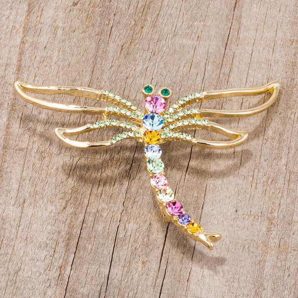 Gold Tone Multicolor Dragonfly Brooch With Crystals - Opulent Lifestyle
