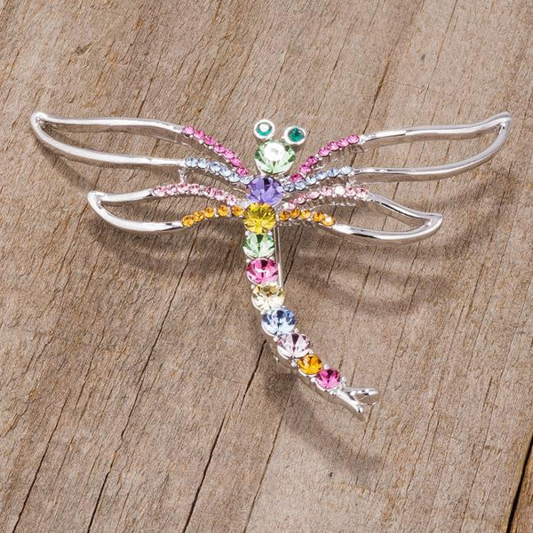 Rhodium Multicolor Dragonfly Brooch With Crystals - Opulent Lifestyle