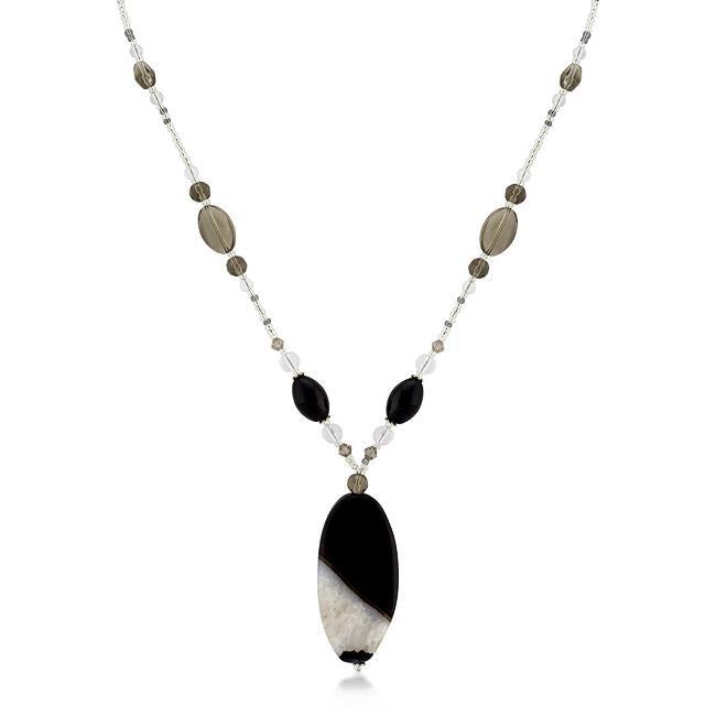 Simulated Smokey Crystal and Quartz Medallion Necklace - Opulent Lifestyle