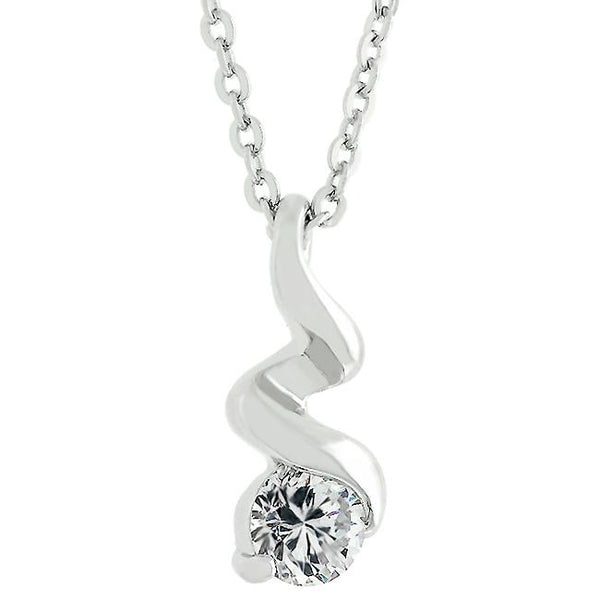 Rhodium Plated Finish Twist Pendant - Opulent Lifestyle