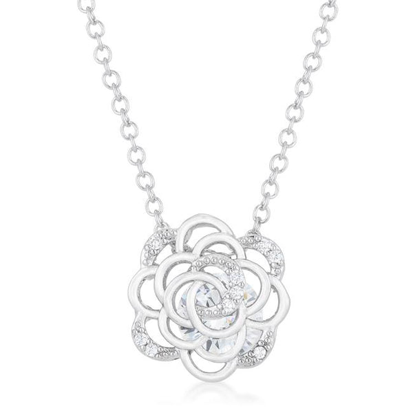 Maya 1.37ct CZ Rhodium Rose Drop Necklace - Opulent Lifestyle