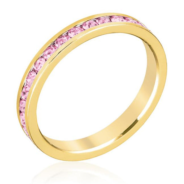 Pink Swarovski Crystals Stackable Ring - Opulent Lifestyle