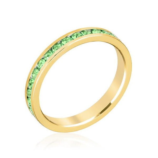 Peridot Swarovski Crystals Stackable Eternity Gold Ring - Opulent Lifestyle