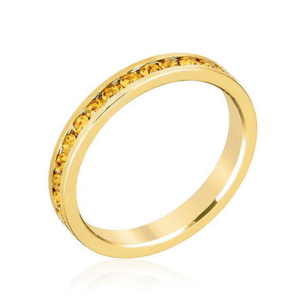 Yellow Swarovski Crystals Stackable Eternity Gold Ring - Opulent Lifestyle