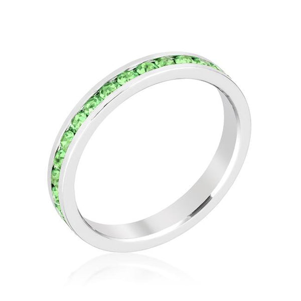 Peridot Swarovski Crystals Stackable Eternity Ring - Opulent Lifestyle