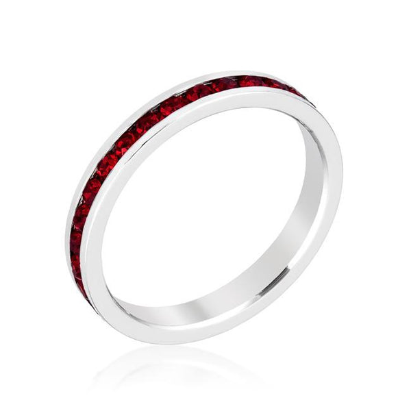 Garnet Swarovski Crystals Stackable Eternity Ring - Opulent Lifestyle