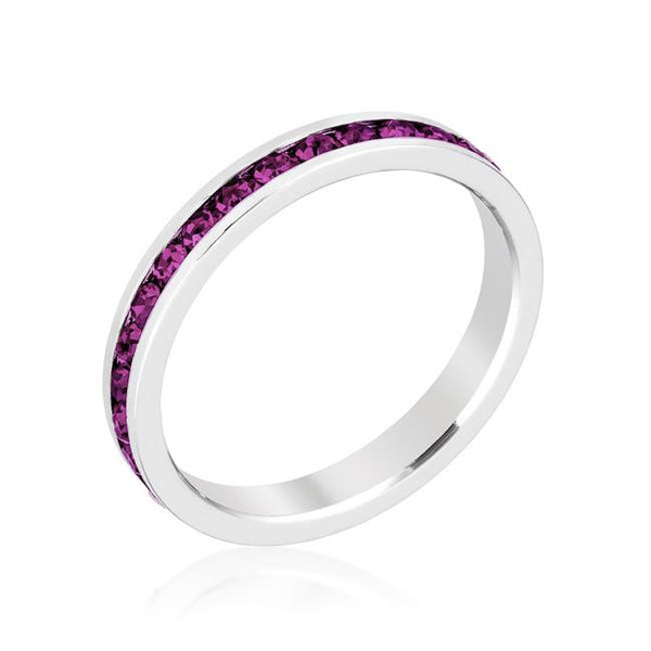 Amethyst Swarovski Crystals Stackable Eternity  Ring - Opulent Lifestyle