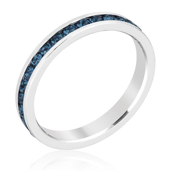 Montana Blue Swarovski Crystals Stackable Eternity Ring - Opulent Lifestyle