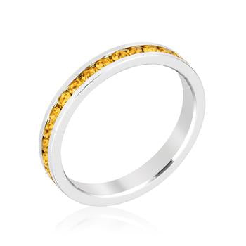 Yellow Swarovski Crystals Stackable Eternity Ring - Opulent Lifestyle