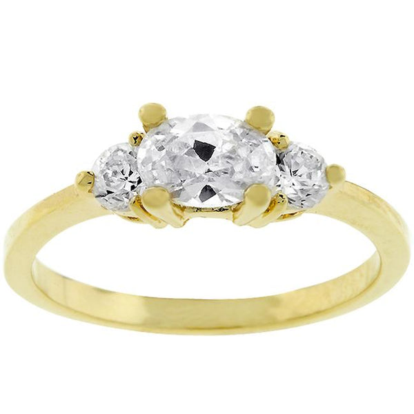 Oval Serenade Goldtone Three Stone Ring - Opulent Lifestyle
