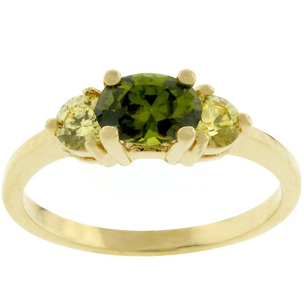Oval Green Three Stone Ring - Opulent Lifestyle