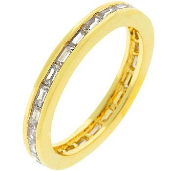 White Crystal Golden Eternity Stackable Ring - Opulent Lifestyle