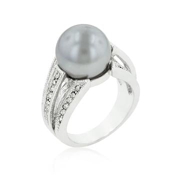 Simulated Gray Pearl Bridal Ring - Opulent Lifestyle