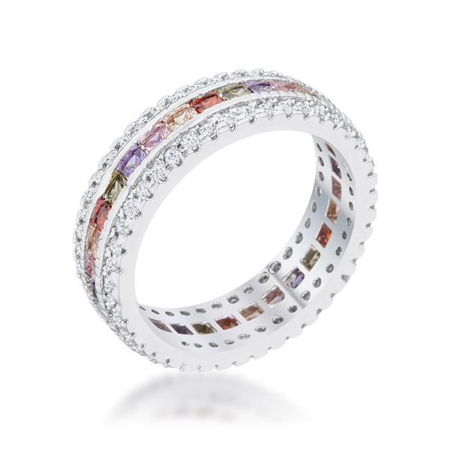 Paula 1.75ct Multicolor CZ Classic Band Ring - Opulent Lifestyle