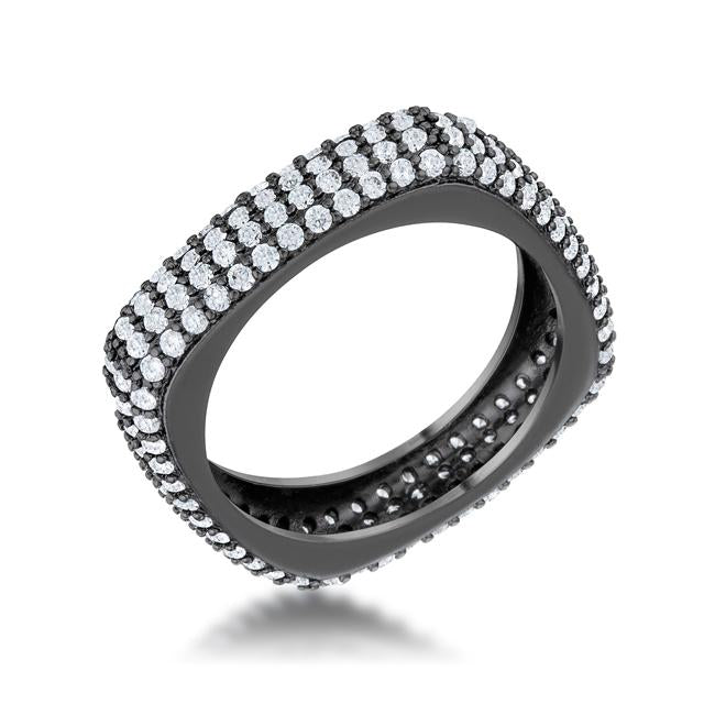 Jana 1.29ct CZ Hematite Contemporary Square Band Ring - Opulent Lifestyle
